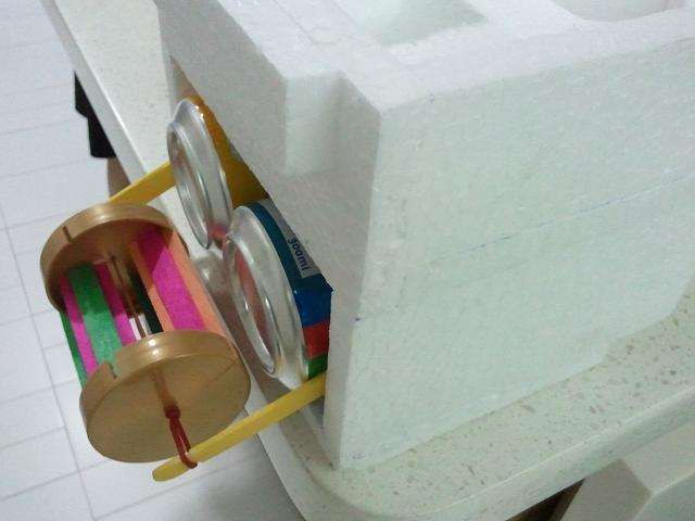 Styrofoam boat model with paddle-wheel
