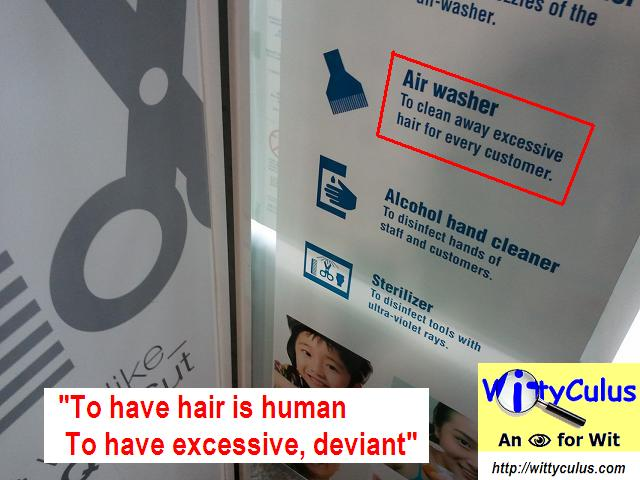 Hair salon signboard showing 'excessive hair' wordings