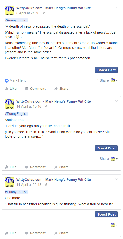 Posts on WittyCulus fan page (about dropping a letter to form new word)